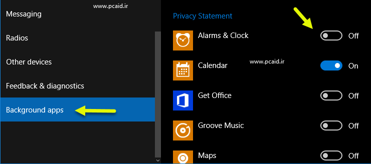 windows10-Background apps